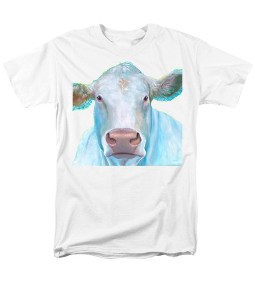 Charolais Cow Painting On White Background Men's T-Shirt  (Regular Fit) by Jan Matson