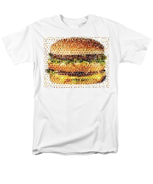 Men's T-Shirt  (Regular Fit) featuring the mixed media Cheeseburger Fast Food Mosaic by Paul Van Scott