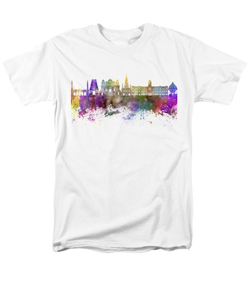 Chennai Skyline In Watercolor Background Men's T-Shirt  (Regular Fit) by Pablo Romero