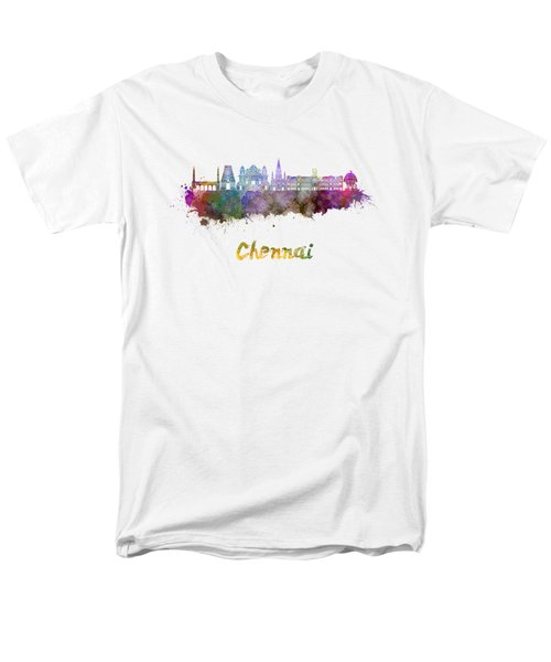 Chennai Skyline In Watercolor Men's T-Shirt  (Regular Fit) by Pablo Romero