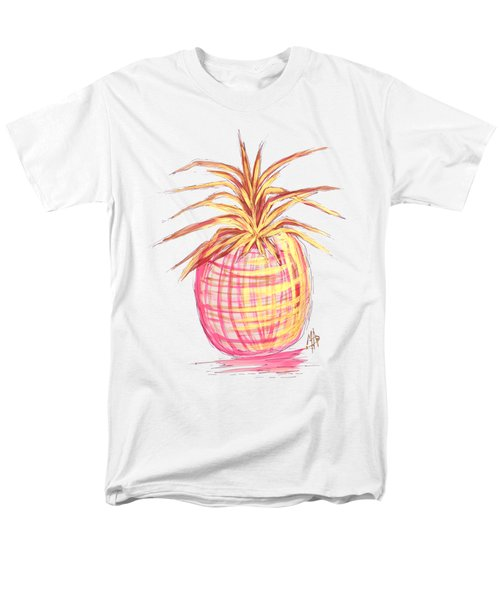 Chic Pink Metallic Gold Pineapple Fruit Wall Art Aroon Melane 2015 Collection By Madart Men's T-Shirt  (Regular Fit)