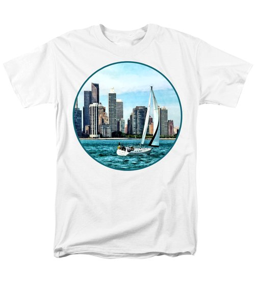 Chicago Il - Sailboat Against Chicago Skyline Men's T-Shirt  (Regular Fit) by Susan Savad