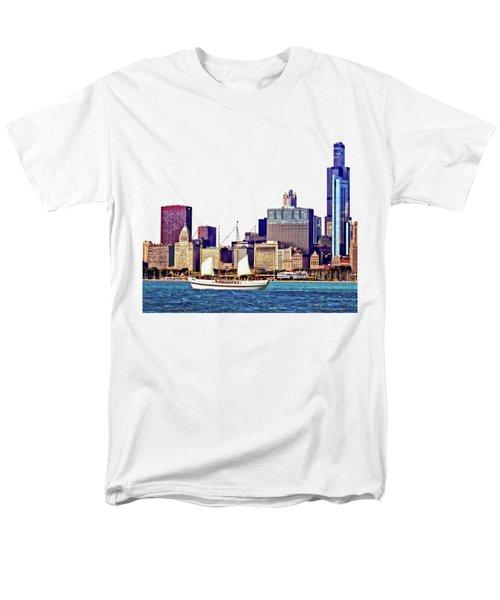 Chicago Il - Schooner Against Chicago Skyline Men's T-Shirt  (Regular Fit) by Susan Savad