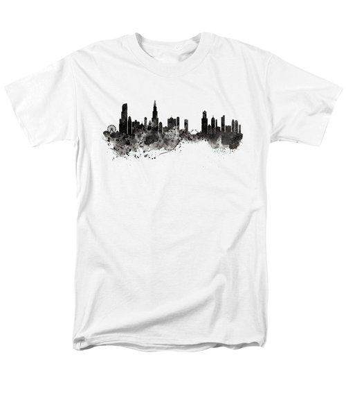 Chicago Skyline Black And White Men's T-Shirt  (Regular Fit) by Marian Voicu