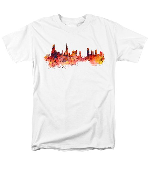 Chicago Watercolor Skyline Men's T-Shirt  (Regular Fit) by Marian Voicu