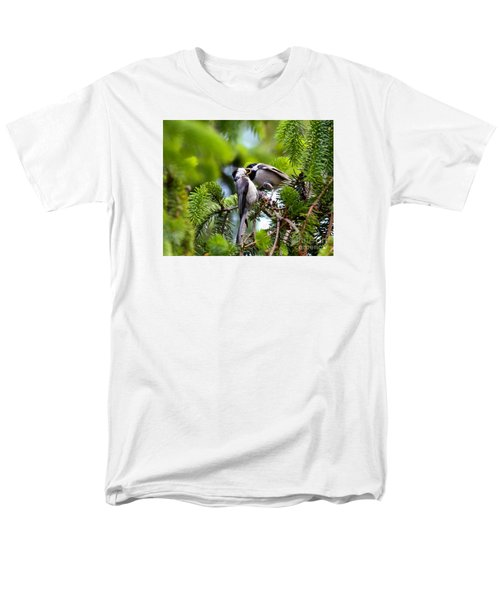 Chickadee Feeding Time Men's T-Shirt  (Regular Fit) by Kerri Farley