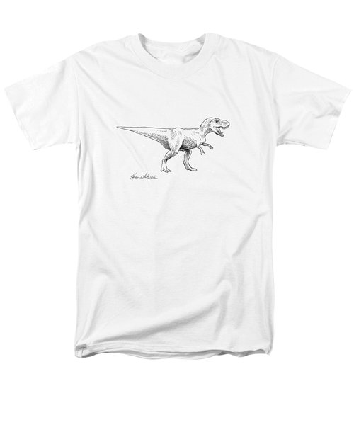 Men's T-Shirt  (Regular Fit) featuring the drawing Tyrannosaurus Rex Dinosaur T-rex Ink Drawing Illustration by Karen Whitworth