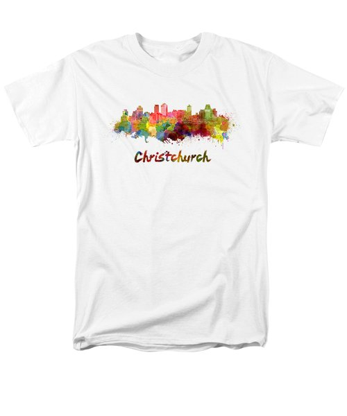 Christchurch Skyline In Watercolor Men's T-Shirt  (Regular Fit) by Pablo Romero