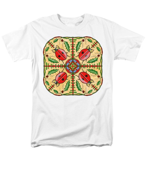 Christmas Ladybug Mandala Men's T-Shirt  (Regular Fit) by Tanya Provines
