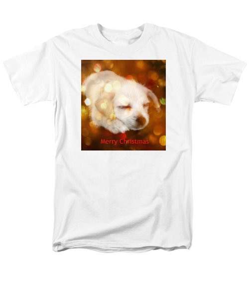 Christmas Puppy Men's T-Shirt  (Regular Fit) by Amanda Eberly-Kudamik