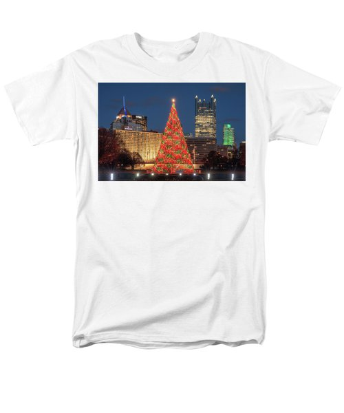 Men's T-Shirt  (Regular Fit) featuring the photograph Christmas  Season In Pittsburgh  by Emmanuel Panagiotakis