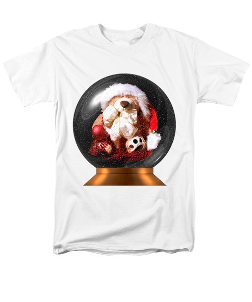Christmas Teddy Snow Globe On A Transparent Background Men's T-Shirt  (Regular Fit) by Terri Waters