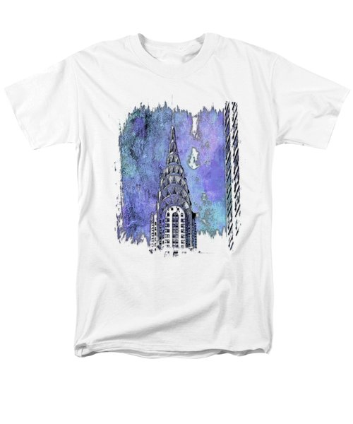Chrysler Spire Berry Blues 3 Dimensional Men's T-Shirt  (Regular Fit) by Di Designs