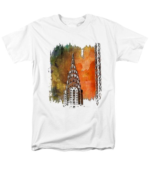 Chrysler Spire Earthy Rainbow 3 Dimensional Men's T-Shirt  (Regular Fit) by Di Designs