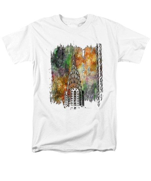 Chrysler Spire Muted Rainbow 3 Dimensional Men's T-Shirt  (Regular Fit)