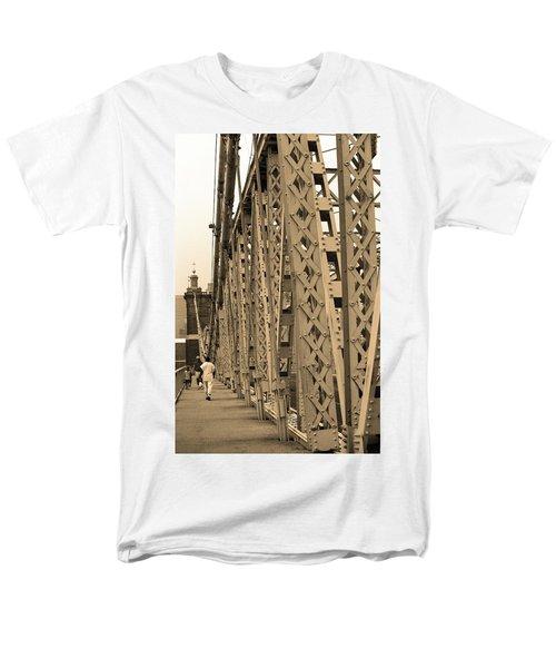 Cincinnati - Roebling Bridge 3 Sepia Men's T-Shirt  (Regular Fit) by Frank Romeo