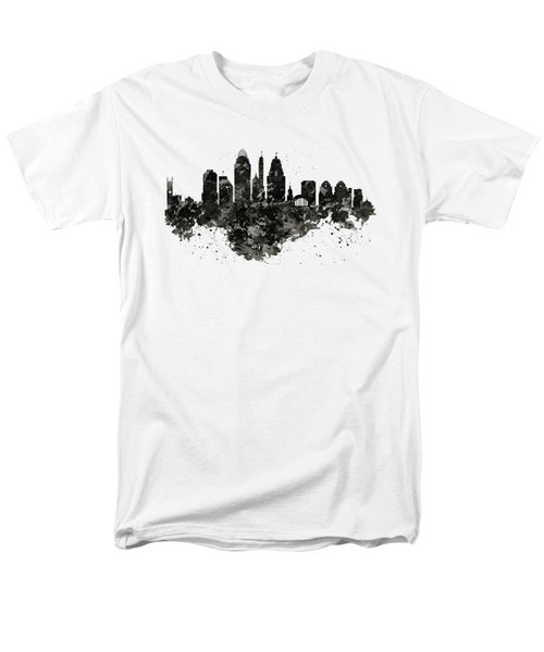 Men's T-Shirt  (Regular Fit) featuring the mixed media Cincinnati Skyline Black And White by Marian Voicu