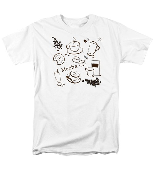 Coffee/cafe Pattern Background Men's T-Shirt  (Regular Fit) by Serena King