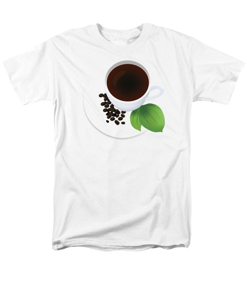 Coffee Cup On Saucer With Beans Men's T-Shirt  (Regular Fit) by Serena King