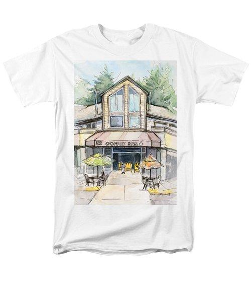 Coffee Shop Watercolor Sketch Men's T-Shirt  (Regular Fit) by Olga Shvartsur