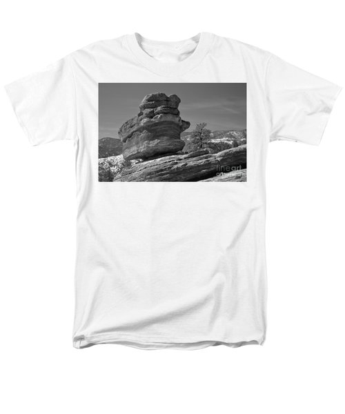 Men's T-Shirt  (Regular Fit) featuring the photograph Colorado Springs Balanced Rock Black And White by Adam Jewell