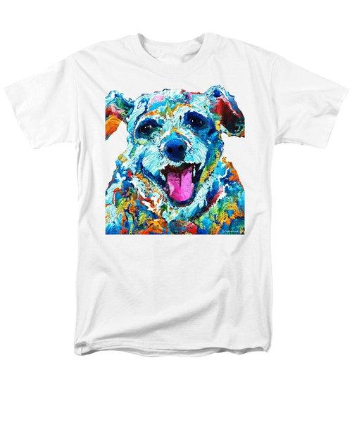 Colorful Dog Art - Smile - By Sharon Cummings Men's T-Shirt  (Regular Fit)
