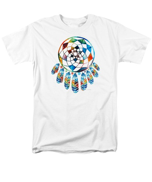 Men's T-Shirt  (Regular Fit) featuring the painting Colorful Dream Catcher By Sharon Cummings by Sharon Cummings