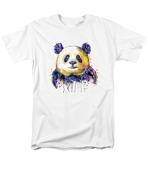 Men's T-Shirt  (Regular Fit) featuring the mixed media Colorful Panda Head by Marian Voicu