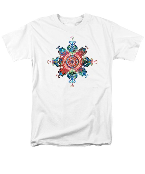 Men's T-Shirt  (Regular Fit) featuring the painting Colorful Pattern Art - Color Fusion Design 3 By Sharon Cummings by Sharon Cummings