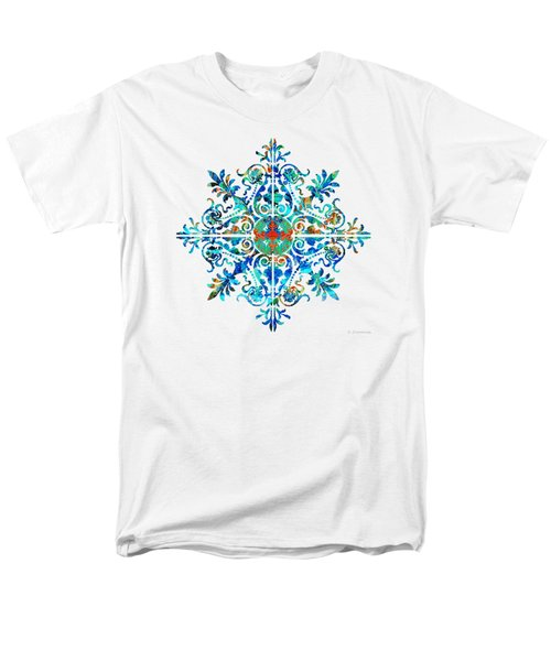 Men's T-Shirt  (Regular Fit) featuring the painting Colorful Pattern Art - Color Fusion Design 5 By Sharon Cummings by Sharon Cummings