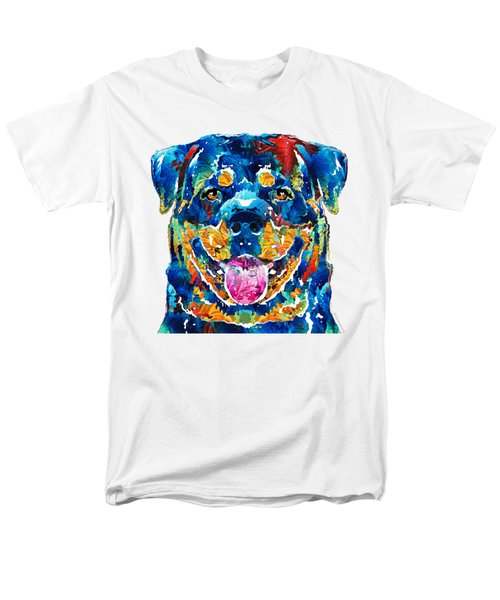 Colorful Rottie Art - Rottweiler By Sharon Cummings Men's T-Shirt  (Regular Fit) by Sharon Cummings