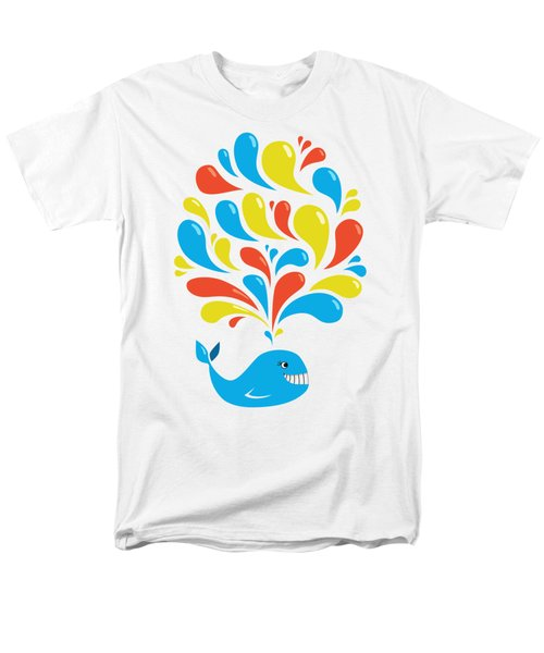 Colorful Swirls Happy Cartoon Whale Men's T-Shirt  (Regular Fit) by Boriana Giormova