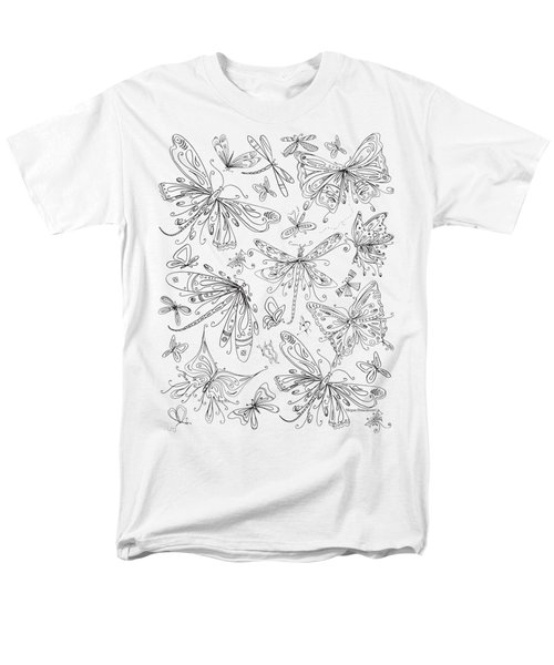 Coloring Page For Adults Butterflies And Dragonflies By Madart Men's T-Shirt  (Regular Fit) by Megan Duncanson