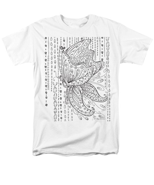 Coloring Page With Beautiful Butterfly Drawing By Megan Duncanson Men's T-Shirt  (Regular Fit) by Megan Duncanson