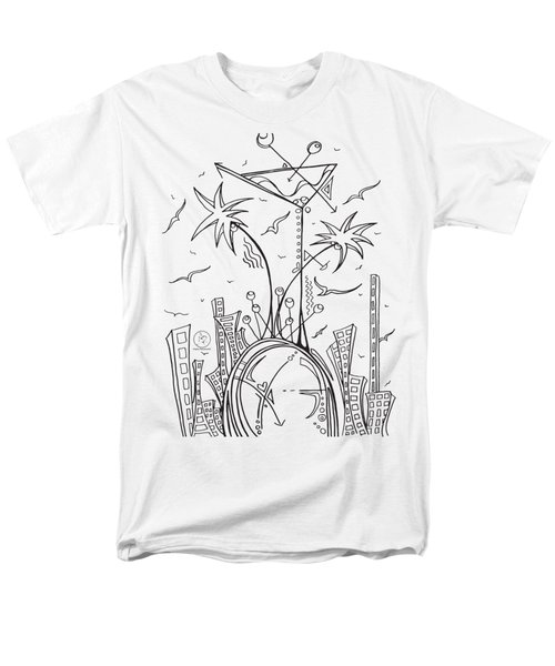 Coloring Page With Beautiful City Martini Drawing By Megan Duncanson Men's T-Shirt  (Regular Fit) by Megan Duncanson