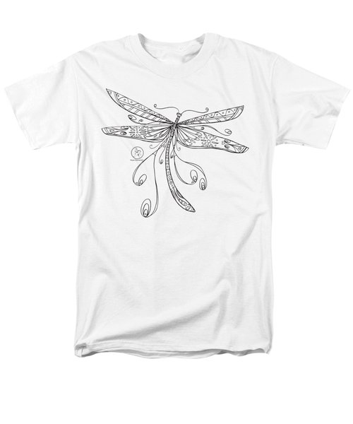 Coloring Page With Beautiful Dragonfly Drawing By Megan Duncanson Men's T-Shirt  (Regular Fit) by Megan Duncanson