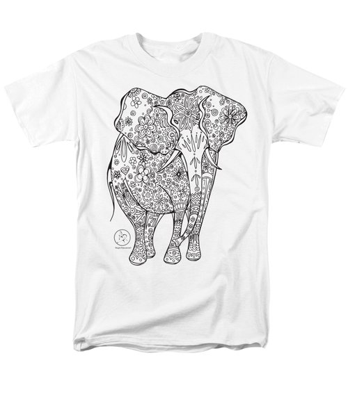 Coloring Page With Beautiful Elephant Drawing By Megan Duncanson Men's T-Shirt  (Regular Fit) by Megan Duncanson