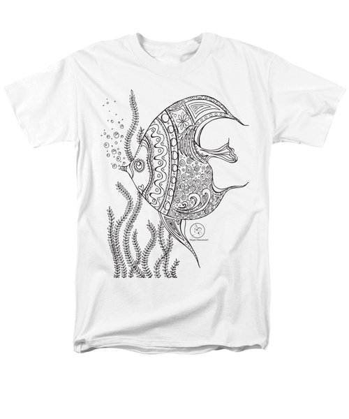 Coloring Page With Beautiful Fish Drawing By Megan Duncanson Men's T-Shirt  (Regular Fit) by Megan Duncanson