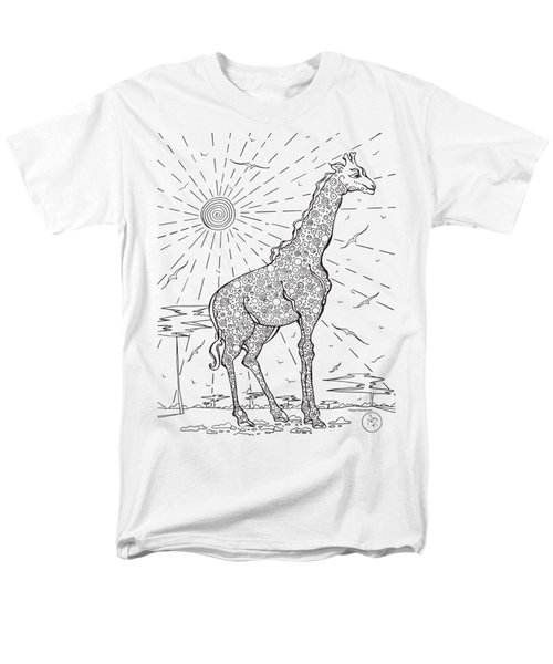 Coloring Page With Beautiful Giraffe Drawing By Megan Duncanson Men's T-Shirt  (Regular Fit) by Megan Duncanson