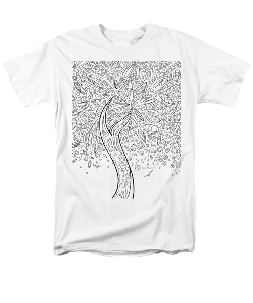 Coloring Page With Beautiful In The Garden 5 Drawing By Megan Duncanson Men's T-Shirt  (Regular Fit) by Megan Duncanson