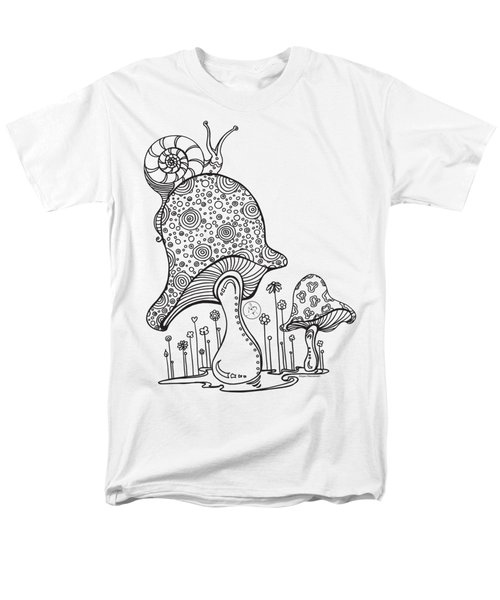 Coloring Page With Beautiful Mushroom And Snail Drawing By Megan Duncanson Men's T-Shirt  (Regular Fit) by Megan Duncanson