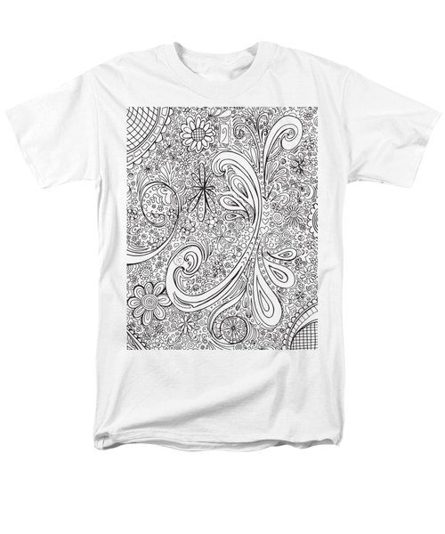Coloring Page With Beautiful Swirls Drawing By Megan Duncanson Men's T-Shirt  (Regular Fit) by Megan Duncanson