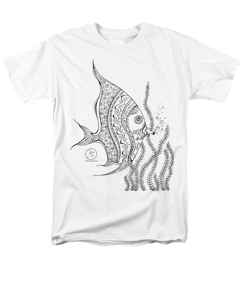 Coloring Page With Beautiful Tropical Fish 2 Drawing By Megan Duncanson Men's T-Shirt  (Regular Fit) by Megan Duncanson