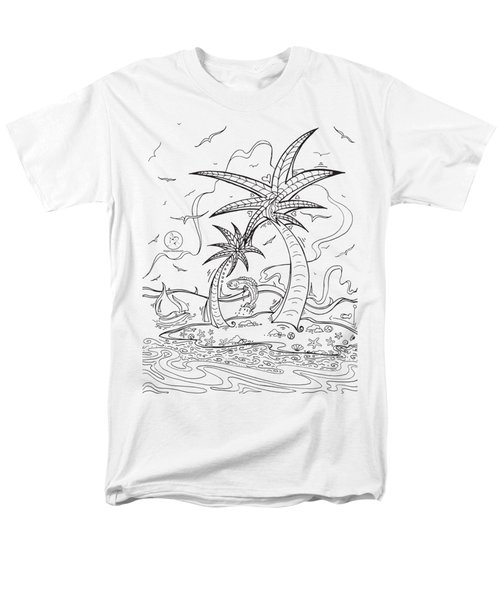 Coloring Page With Beautiful Tropical Island Drawing By Megan Duncanson Men's T-Shirt  (Regular Fit) by Megan Duncanson