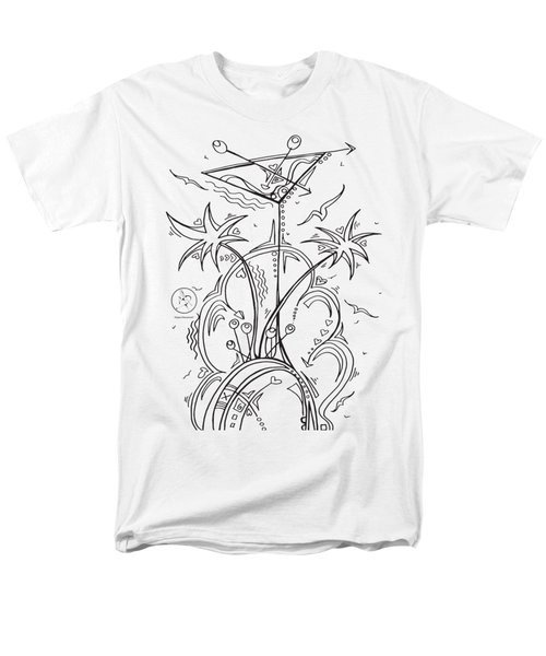 Coloring Page With Beautiful Tropical Martini Drawing By Megan Duncanson Men's T-Shirt  (Regular Fit)