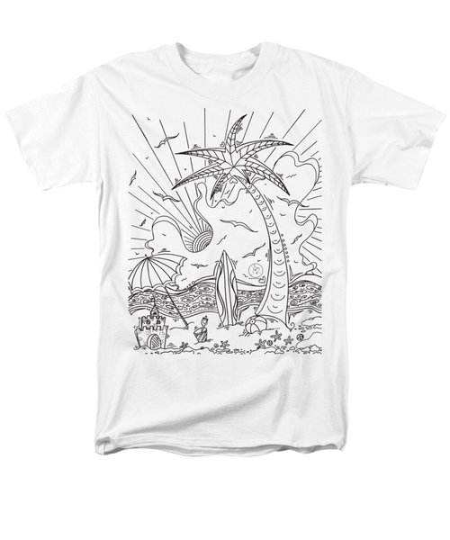 Coloring Page With Beautiful Tropical Surf Island Drawing By Megan Duncanson Men's T-Shirt  (Regular Fit) by Megan Duncanson