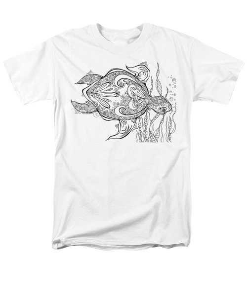 Coloring Page With Beautiful Turtle Drawing By Megan Duncanson Men's T-Shirt  (Regular Fit) by Megan Duncanson