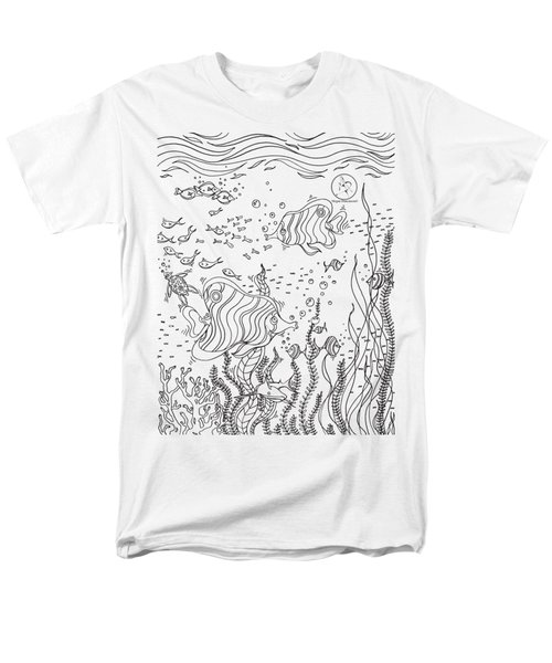 Coloring Page With Beautiful Underwater Scene Drawing By Megan Duncanson Men's T-Shirt  (Regular Fit) by Megan Duncanson