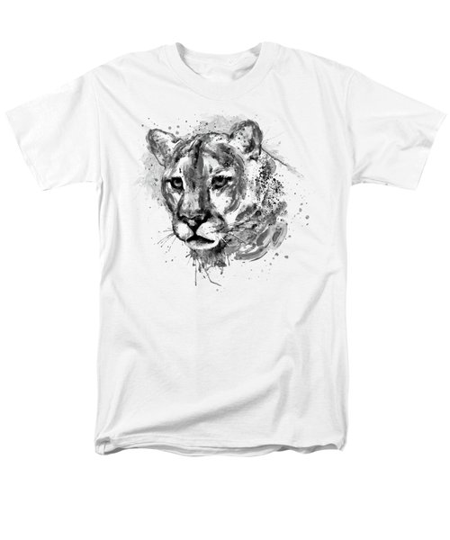 Men's T-Shirt  (Regular Fit) featuring the mixed media Cougar Head Black And White by Marian Voicu