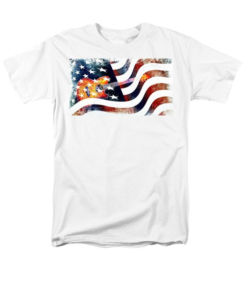 Country Music Guitar And American Flag Men's T-Shirt  (Regular Fit)